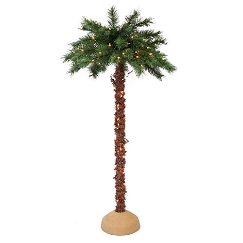 CC Christmas Decor Pre-Lit Artificial Palm Tree with UL-Listed Lights 6'