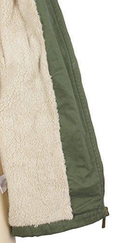 Intown Damen Mantel Winter-Parka mit Kapuze Kunstfell Fleece-Futter, Olivgrün
