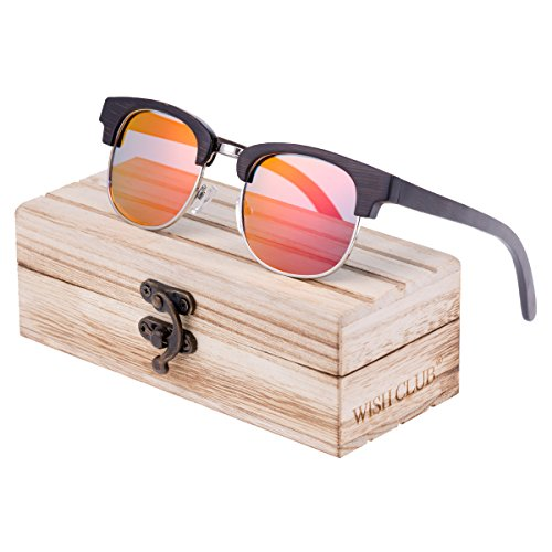 WISH CLUB Men Bamboo Wood Clubmaster Polarized Sunglasses Mirrored UV 400 Unisex Lightweight Retro Vintage Fashion Modern Glasses for Men - Retro Modern Sunglasses Vintage