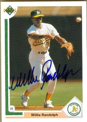 Willie Randolph autographed baseball card (Oakland Athletics) 1991 Upper Deck #421 - MLB Autographed Baseball Cards (Randolph Willie Baseball Autographed)