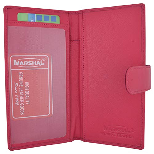 - Genuine Leather Basic Checkbook Holder with Snap Closure (Pink)