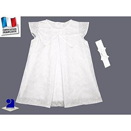 Traje bautizo niña, vestido bordado inglés blanca y diadema ...