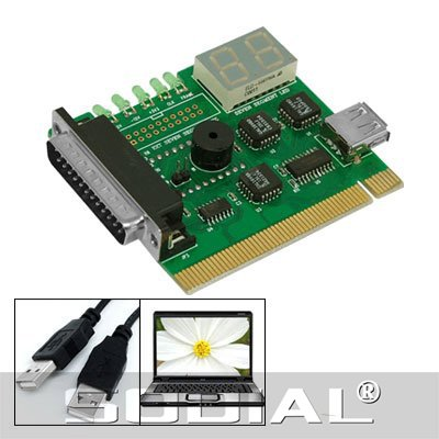 SODIAL(R) Motherboard USB & PCI Analyser Diagnostic Card Tester for Desktop & Laptop PC - SODIAL Retail Packaging