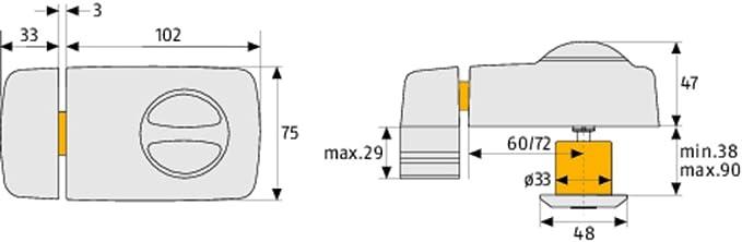 Abus 532702 7010 W color blanco Cerrojo extra para puerta con pomo giratorio