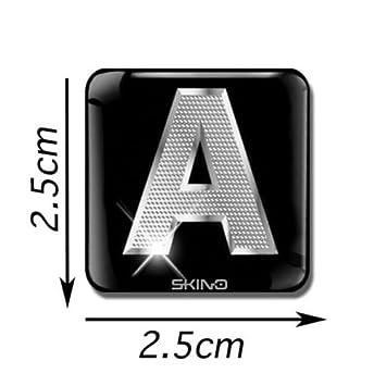 Skino 3D GEL ADESIVO ARGENTO LETTERE SILVER ALFABETO SIMBOLI ETICHETTA INIZIALI A-Z AUTO TELEFONO ADATTE PER DECORARE AUTOADESIVI STICKERS (P), L 16