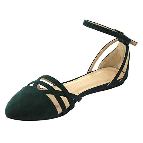 Betani Abela-9 Damen Ankle Strap Ballerina Ballerinas Olive
