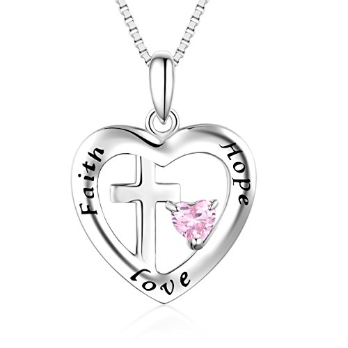 Bellrela Sterling Silver Cross in Heart Faith Hope Love Pendant Necklace -