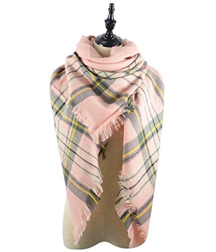 Womens Chunky Warm Fall Winter Scarves Blanket Wrap Plaid Tartan Tassels Scarves Comfy Dress Shawls Coral - Outlet Online Uk Designer