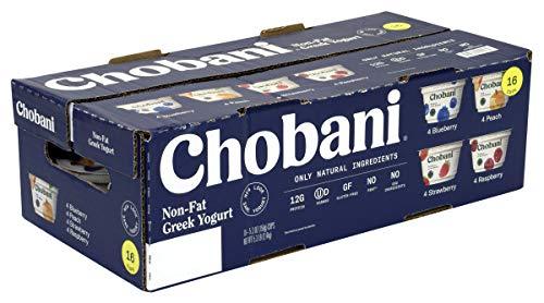 Chobani Greek Yogurt Assorted Variety Pack - 16 Count - Healthy, Non-Fat Natural Yogurt - 4 Strawberry - 4 Blueberry - 4 Peach - 4 Raspberry