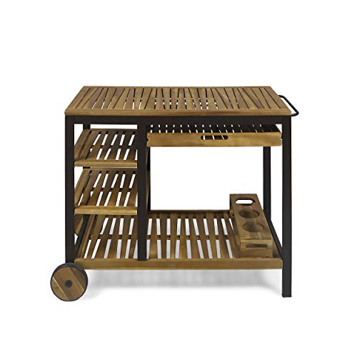 Christopher Knight Home Ishtar Outdoor Acacia Wood Bar Cart with Reversible Drawers and Wine Bottle Holders, Teak Finish