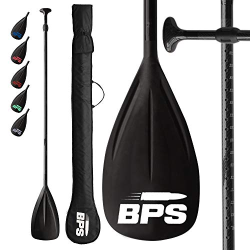 BPS Two Piece Carbon Fiber Shaft SUP Paddle - Durable Easy to Adjust for Paddlers - Lightweight Simple Assemble SUP Paddleboarding with Bag (Snorkel Blue Accent)