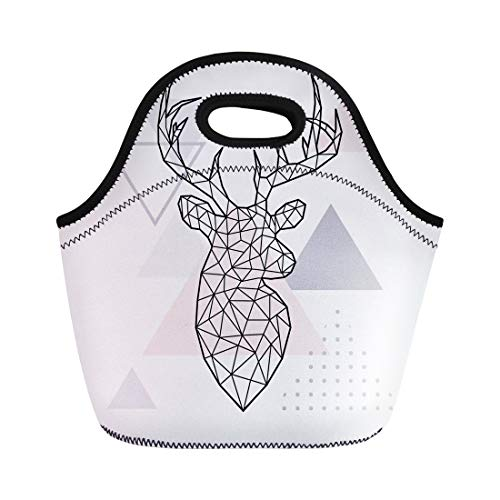 (Semtomn Lunch Tote Bag Scandi Abstract Geometric Head of Forest Deer Scandinavian Animal Reusable Neoprene Insulated Thermal Outdoor Picnic Lunchbox for Men Women)