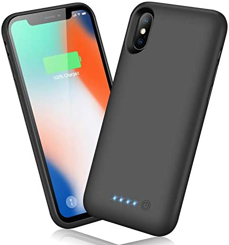 QTshine Battery Case for iPhone X/XS/10, Newest [6500mAh] Protective Portable Charging Case Rechargeable Extended Battery Pack for Apple iPhone X/XS/10(5.8′) Backup Power Bank Cover – Black