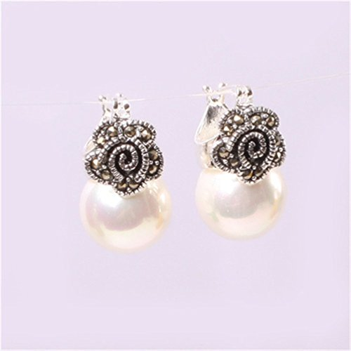 GEM-inside White Pearl Round Ball Gemstone Beads Cute 12mm Tibetan Silver Marcasite Leverback Jewelry Accessory for ()