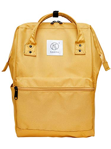 Kah&Kee Polyester Backpack with Laptop Compartment Waterproof Anti-Theft Travel School for Women Man (Yellow, Large) ()