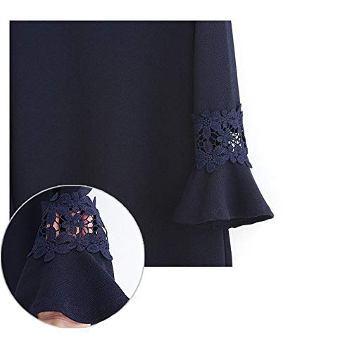 Tondo Dress Xuanbao Casual Cocktail Plus Party Scollo Size In Blu Maniche Abiti Pizzo Floreale Lunghe Sera Top Navy Mini Abito Donna Da Lungo Solid 1pxw1q8Ur