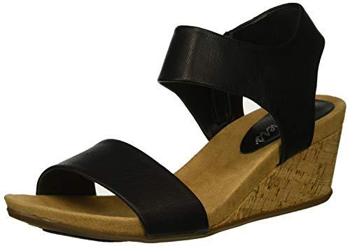 Skechers Women's Cool Step-Ankle Strap Slide Fashion Casual Wedge Heeled Sandal, Black, 7 M US -