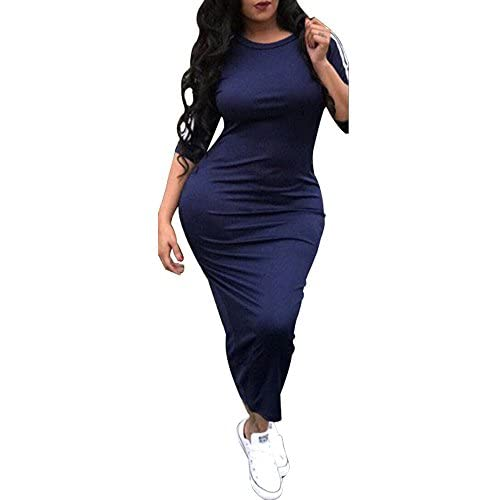 Discount Chellysun Women Striped Half Sleeve Bodycon Dress Slim Fit Midi Dress Clubwear