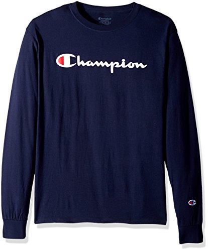 Champion Men's Classic Jersey Long Sleeve Script T-Shirt, Navy, Small