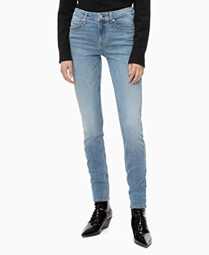 Calvin Klein Women's Mid Rise Skinny Fit Jeans, Mallibu blue light, 27W X - Jeans Calvin Distressed