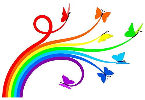 Wallmonkeys Rainbow Butterflies Peel and Stick Wall Decals WM151008 (24 in W x 17 in H)