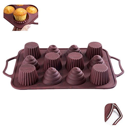 KuXun Creative Silicone Muffin Pan with Handles, Steel Frame to Anti-deformed, 12 Cup Cupcakes Baking Pan, Conch and Flower Shapes, Non-stick, Heat Resistant Tins up to 450℉ - Microwave Safe