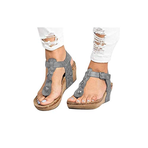 Women's Aditi Low Wedge Dress Sandals Casual Flip Flops Buckle Strap Wedges Sandals Platforms Shoes Gray