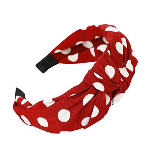 (hositor Headbands for Women, Fashion Bow Knot Dot Hairband Ladies Hair Head Hoop Sweet Girls Hair Headband Red)
