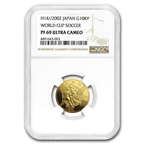 (2002 JP H14 Japan Gold 10,000 Yen World Cup Soccer PF-69 NGC Gold PF-69 NGC)