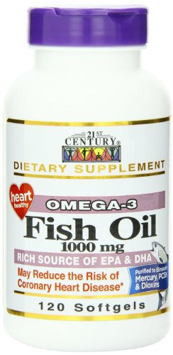 21st Century Fish Oil 1000 Mg Softgels, 120-Count Pack of 4