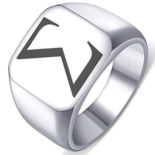 Greek Alphabet Laser Engraved Sigma Symbol Letter Stainless Steel Ring Well Polished