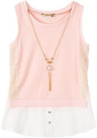 Speechless Big Girls' Slub Knit Shirt Tail Front Top with Necklace