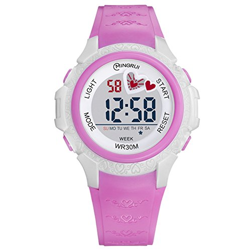 [child] Electronic watches,Chronograph stopwatch Water resistant 30 m lives Luminous 24-hour instruction Calendar Week Girl Students [movement]-J by FXBNHDFMF