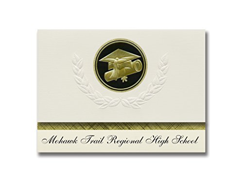 Signature Announcements Mohawk Trail Regional High School (Shelburne Falls, MA) Graduation Announcements, Presidential Elite Pack 25 Cap & Diploma Seal. Black & Gold.