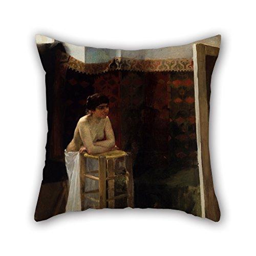Oil Painting Oscar Bj?rck - Female Model In A Studio Cushion