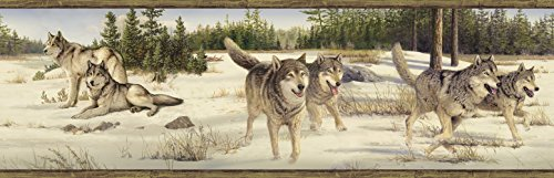 - Chesapeake HTM48471B Shiloh Grey Wintry Wolf Portrait Wallpaper Border