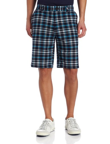 adidas Golf Men's Climalite Fashion Plaid Shorts, Navy/Chrome, 32-Inch - Mens Plaid Golf Shorts