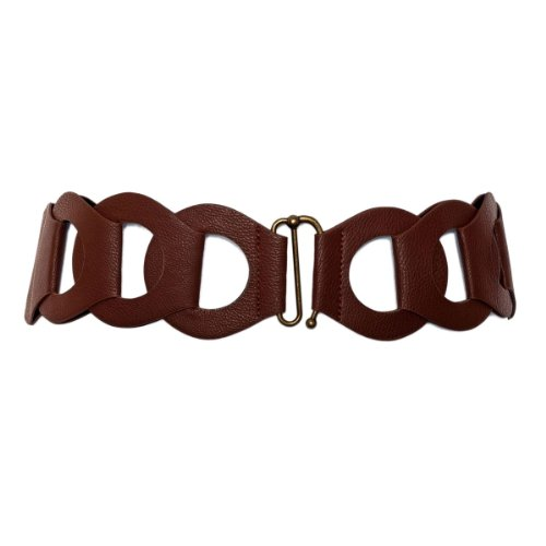 eVogues Plus Size Interlock Elastic Belt with Hook Closure Brown - One Size Plus