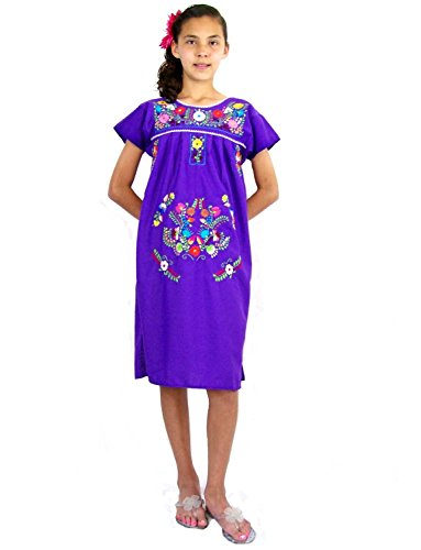 Leos Mexican Imports Girls Mexican Puebla Dress Purple Girls 8