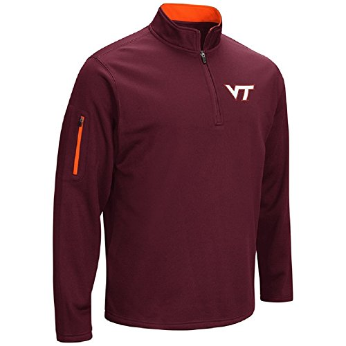 Virginia Tech Fleece (Colosseum Men's VF Poly Fleece 1/4 Zip Pullover-Virginia Tech Hokies-Maroon-XXL)