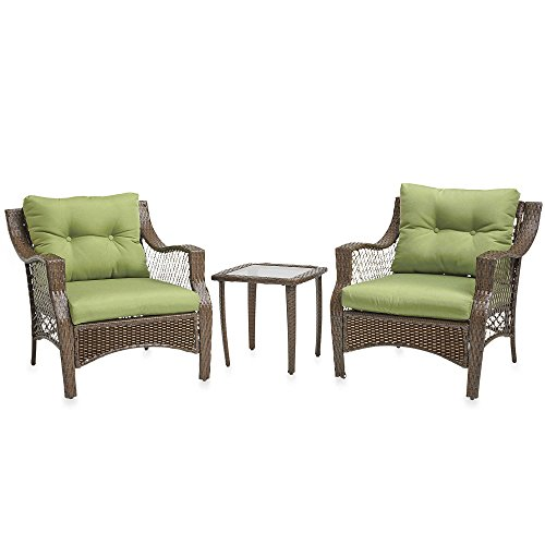 3 Piece Outdoor Patio Wicker Furniture Set With Deep Seat Cushions (Green) (Dining Sets On Clearance)