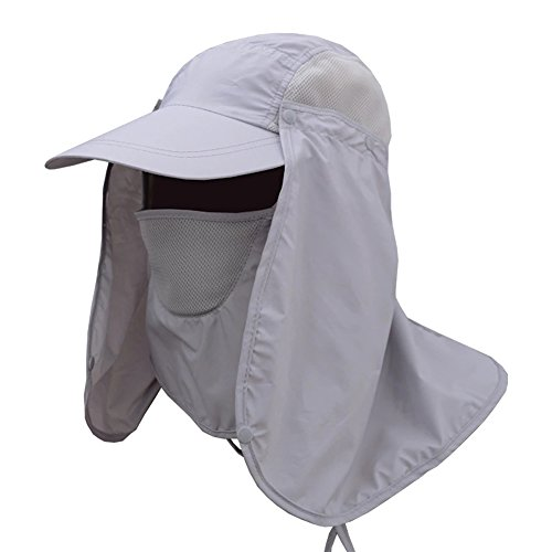 JITTY Sun Cap UV Protection Removable Neck & Face Flap Cover Caps for Summer Outdoor Hiking Fishing Gardening Hunting Camping (Light Grey)