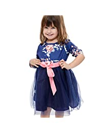 DKmagic Girl's Long Sleeves O-Neck Splicing Print Floral Net Family Dress