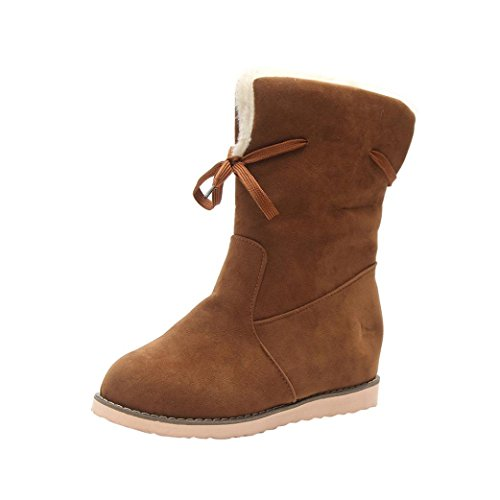 Creazy Ladies Womens Low Wedge Biker Ankle Trim Flat Ankle Warm Martin Boots Shoes (Brown, 40)