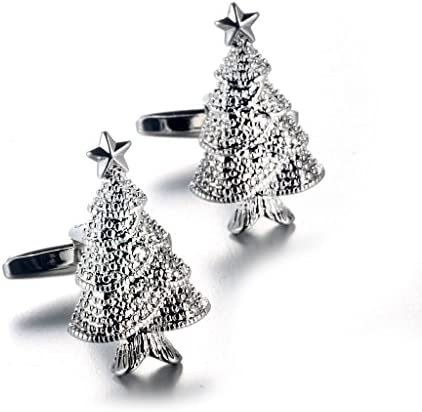 KOZEEYカフスボタン 男性 クリスマスツリー シルバー タキシード カフス シャツのボタン 新郎 オフィス パーティー