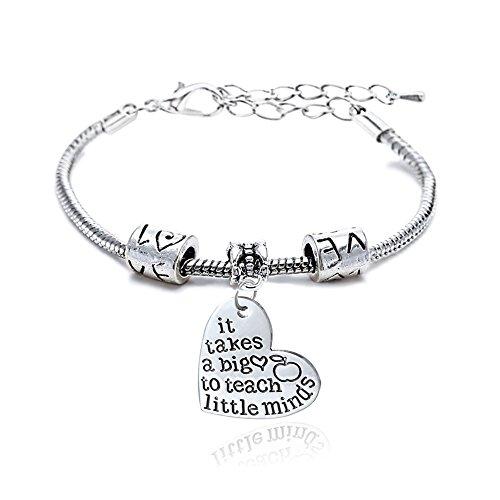 It takes a big heart to teach little minds Bracelet Adjustable Bangle Teacher Christmas Gift Women Men (Style A)