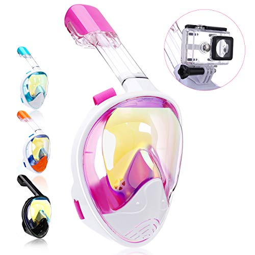 QingSong Snorkel Mask Full Face, Snorkeling Mask for Adults and Kids with Detachable Camera Mount, Foldable 180 Degree Large View Free Breath Dry Top Set Anti-Fog Anti-Leak Anti-UV