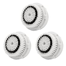 LSQtronics Sensitive Facial Brush Heads for Clarisonic. Face Cleansing Brush Heads for Daily Skin Care. Compatible with Clarisonic MIA, MIA 2, ARIA, PRO and PLUS Cleansing Systems. (3-Pack Sensitive Brush Head)