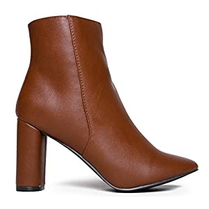 Sleek Simple Ankle Bootie - Cute Retro Mod Vintage Round Heel - Classic Zip Up Boot - Breckelle's Linda Ankle Dress Boot