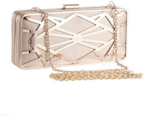 婦人用ハンドバッグ、イブニングバッグ、メタル中空スクエアバッグ、ハードシェルチェーン財布(カラー:アプリコット)調節可能ショルダーストラップ 美しいファッション